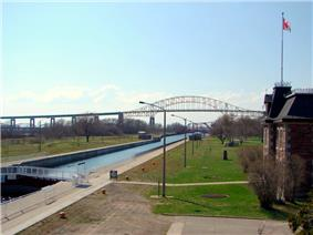 Exterior view of the Sault Ste. Marie Canal