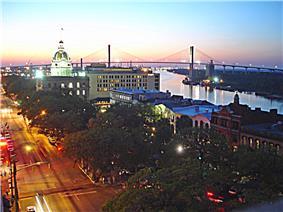 Downtown Savannah viewed from Bay Street
