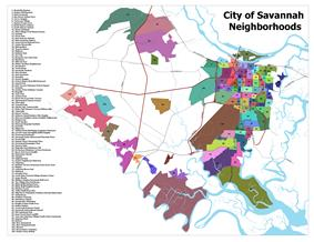 A map showing the existing City of Savannah neighborhoods.
