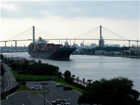 Talmadge Memorial Bridge with Port of Savannah in the background