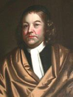 A head and shoulders portrait of Bradstreet, who wears a gold-peach robe over a black shirt and white cravat. His shoulder-length hair is topped with a small black cap.