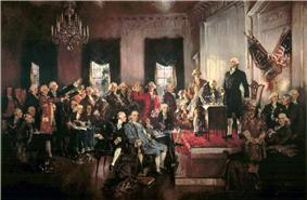 Painting of a crowd of men gathered in a hall with chandeliers and American flags.