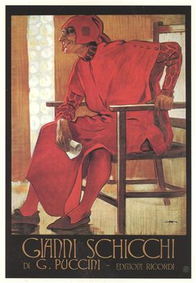 Against a yellow background, a jovial man, dressed all in red medieval clothing and holding a small scroll, sits in a large basic wooden chair. Underneath, in poster-style lettering, is