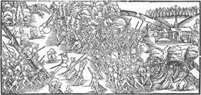 Medieval drawing of warring armies