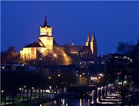 Night view of Schwanenburg and Stiftkirche