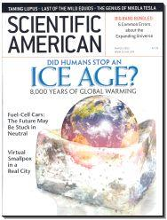 A magazine cover depicting a photorealistic view of the Earth, inserted into a melted ice cube, with the magazines masthead at top and a headline between the masthead and the Earth reading