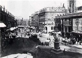 Black and white photo of a city square