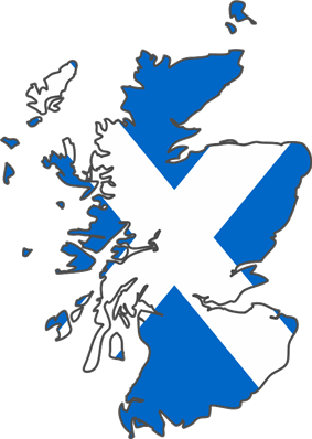 Map of Scotland coloured by its flag
