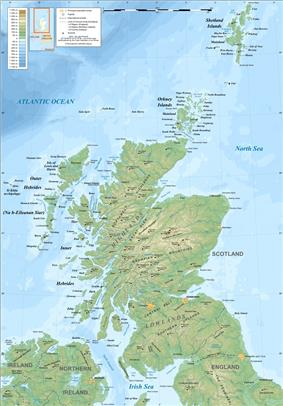 A map of Scotland showing physical features.