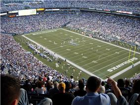 A stadium filled with spectators with two football teams on the field between a play.