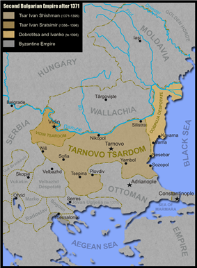 A map of the divided Bulgarian Empire in the late 14th century