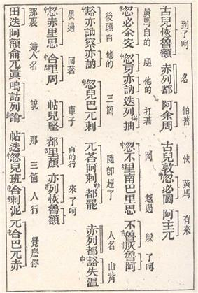 white page with several lines of black Chinese characters running top-down and separated into small groups by spaces. To the left of some of the characters there are small characters such as 舌 and 中. To the right of each line, groups of characters are indicated as such by a
