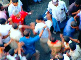An overhead view of a mob.
