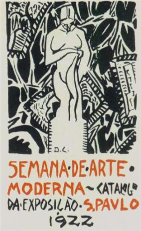 Hand-lettered advertisement below a modernist design