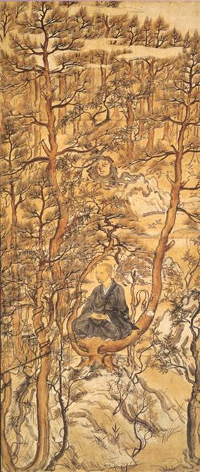 A priest seated on a branch of a pine tree in a pine tree forest.