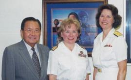 Senator Daniel Inouye, CAPT Nancy J. Lescavage and RDML Kathleen L. Martin.