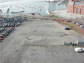 Aerial view of docks area