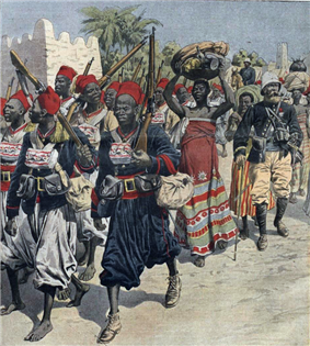 A painting of a column of black soldiers and porters accompanied by a white French officer