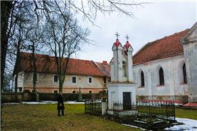 The church and cloister built on the remains of the old castle