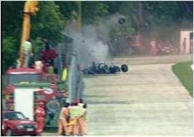 Ayrton Senna on board his damaged Williams FW16 after his crash on lap 7 of the 1994 San Marino Grand Prix