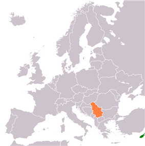 Map indicating locations of Serbia and Cyprus