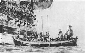 Selkirk, seated in a ship's boat, being taken aboard the Duke.