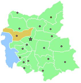 Location of Shabestar County in East Azerbaijan Province