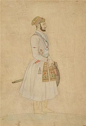 Full-figure painting of a young Bahadur Shah