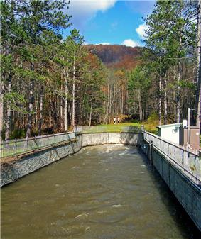 A wide concrete channel carrying brown water from underground at the rear of the image. Trees surround it on all sides; there is a small mountain in the distant background and two small structures on the right.
