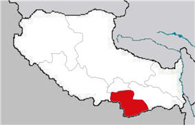 Location of Shannan Prefecture in the Tibet Autonomous Region