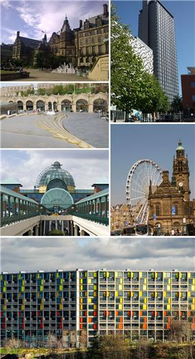 Clockwise from top left: The Sheffield Town Hall; St Paul's Tower from Arundel Gate; the Wheel of Sheffield; Meadowhall shopping centre; Sheffield station and Sheaf Square. Park Hill at the bottom.