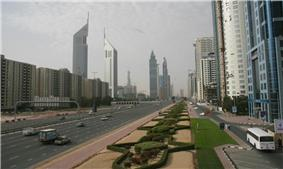 Trade Centre 1 (right) is a residential and commercial district on Sheikh Zayed Road.