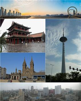 Clockwise from top: Sanhao Bridge, Liaoning Broadcast and TV Tower, Downtown Shenyang, Sacred Heart Cathedral of Shenyang, Shenyang Imperial Palace.