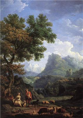 Landscape painting, showing a mountain scene with an adoring couple surrounded by sheep in the foreground. The scene is dominated by a large, leafy green tree at the left and blue sky with white clouds, contrasted against the mountain at the top of the painting.