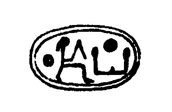 Drawing of the impression of a scaraboid seal with a seated man reading Shepes in the center and a sun disk reading Ra on the right.