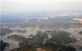 Shibayama as seen from airplane taking off from Narita