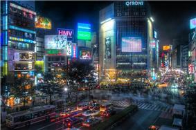 Shibuya scramble crossing at night