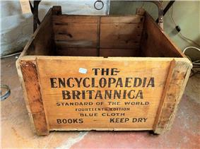 A wooden crate reading