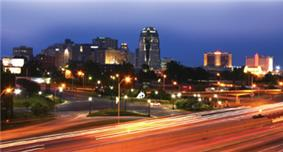 Downtown Shreveport in August, 2005 at Night