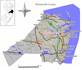 Map of Shrewsbury Township in Monmouth County. Inset: Location of Monmouth County highlighted in the State of New Jersey.