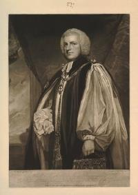 A grayscale portrait of a middle-aged white man, enrobed as a bishop and as the chancellor of the Order of the Garter.