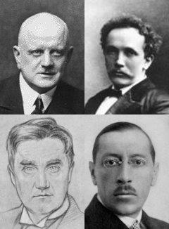 head and shoulders portraits of four men. One is bald; one is balding and luxuriantly moustached; one is a drawing of a young man in full face, with a full head of hair, in collar and tie; the fourth shows a young man, balding and bespectacled looking towards the camera