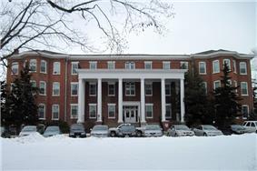 Sibley Hall after snowfall