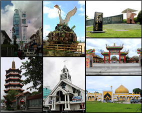 Clockwise from top right: Wong Nai Siong Memorial Garden, Jade Dragon Temple, An-Nur Mosque, Masland Methodist church, Tua Pek Kong Temple, Wisma Sanyan, and swan statue.