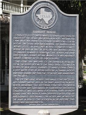 Sidbury House marker Corpus Christi Texas.jpg