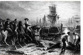 A black and white engraving, with horsemen on the left and workmen on the right. Behind them are the waters of a harbor with sailing ships at anchor.