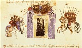 Medieval miniature showing a tall walled city assailed from two sides by cavalry, and soldiers defending it from atop the walls