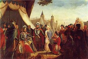 Painting of a group of men clustered around a seated man in armor wearing a crown. Kneeling before the seated man is another man, with a third man standing between the two men and pointing at the kneeling man.