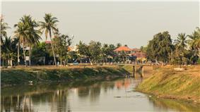 Siem Reap, town and river