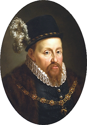 A portrait of Sigismund II Augustus, in a black hat with a white feather, a white ruff on his neck, and an ornate gold chain around his neck.